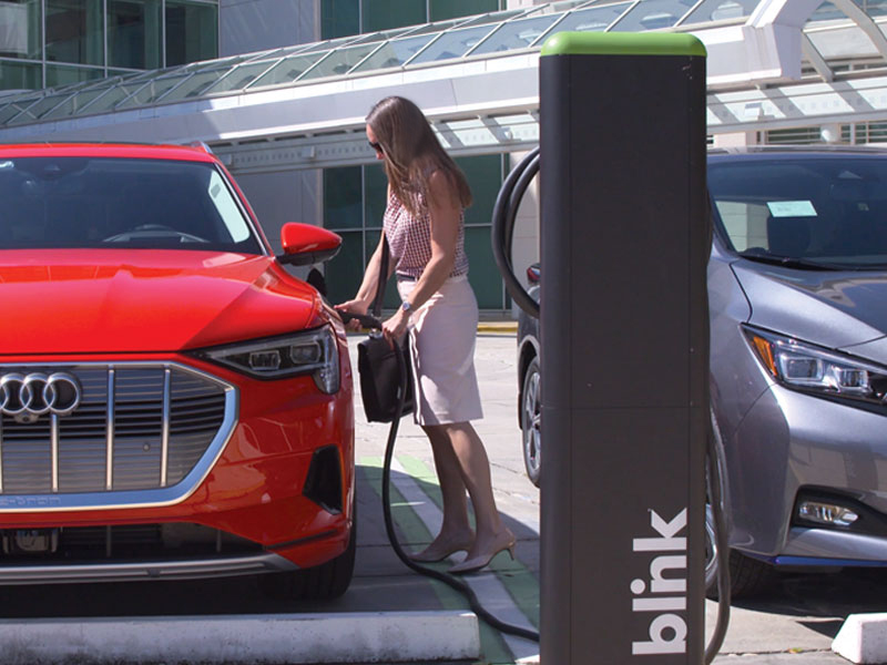Blink Charging EV Charging Station at Business Location
